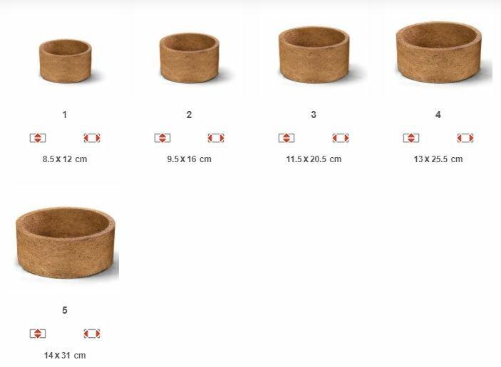 Opções de tamanhos do Vaso Redondo Nutricoco.